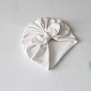 Czapka turban podwójny biały kokardka CHRZEST