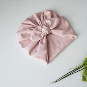 Czapka turban podwójny brudny róż kokardka