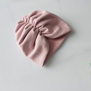 Czapka turban podwójny brudny róż marszczenie