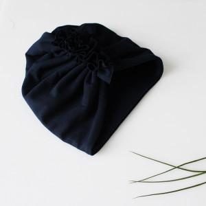Czapka turban podwójny GRANATOWY