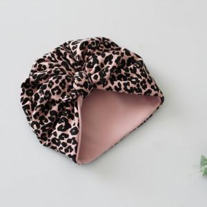 Czapka turban podwójny panterka róż kokardka