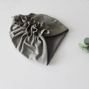 Czapka turban podwójny popiel,stalowo szara