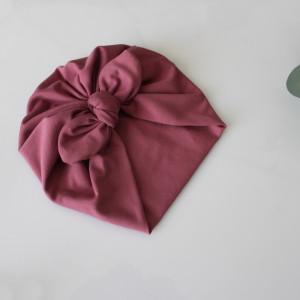 Czapka turban podwójny wrzos kokardka rozmiary
