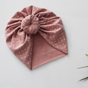Czapka turban supełek kropki brudny  róż