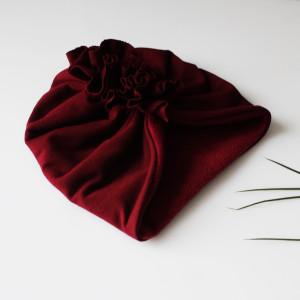 Czapka turban zimowy bordo bordowy