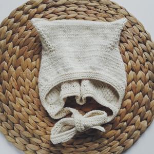 czapka z uszkami kitty bawełna/merino ecru