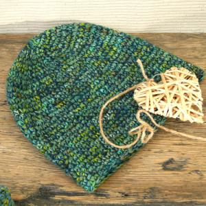 Czapka ZielonoMi nr 3 - ciepła, szydełkowa