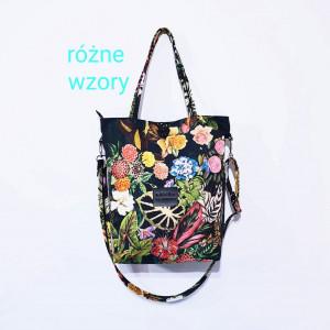 Czarna torba w kolorowe kwiaty jesienne + pasek