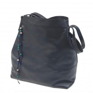 Czarna torba - worek, ze skóry naturalnej