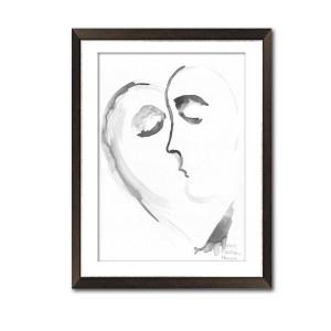 Czarno biała Grafika pocałunek 19, format A3