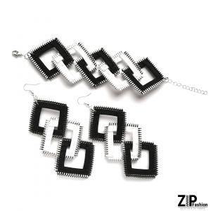 Czarno-biały komplet biżuterii kwadraty