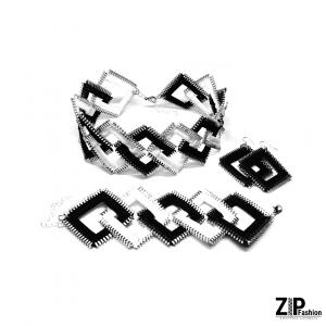 Czarno-biały zestaw biżuterii kwadraty