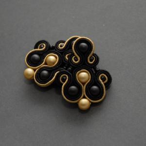 czarno-złote kolczyki lub klipsy sutasz 3
