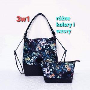 Czarny torebko plecak 3w1 w kwiaty i kosmetyczka