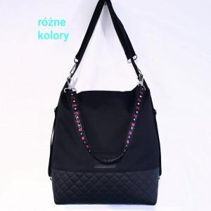 Czarny torebko plecak + różowy elegancki pasek