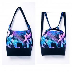 Czarny torebko-plecak w niebiesko różowe liście