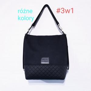Czarny torebko plecak z regulowanymi paskami #3w1