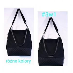 Czarny torebko plecaki + czarno srebrny pasek