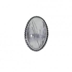 Czarny turmalin w krysztale górskim pierścionek