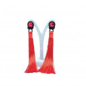 Czerwone kolczyki Swarovski z chwostami