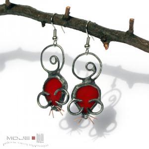 Czerwone myszki  kolczyki