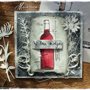 Czerwone wino - kartka urodzinowa