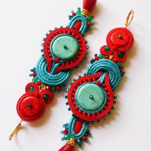 Czerwono-turkusowe kolczyki sutasz