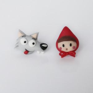 Czerwony Kapturek i wilk - bajkowe kolczyki wkręty