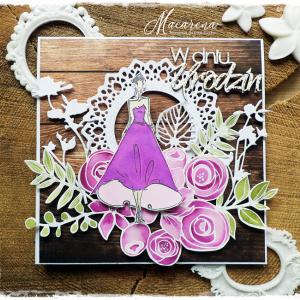 Dama w sukni - kartka urodzinowa