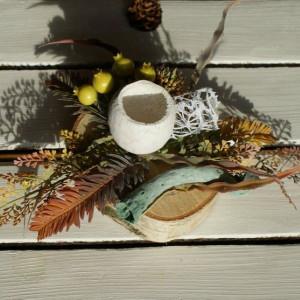 dekoracja na plastrze drewna