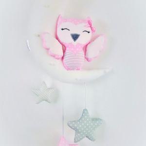 Dekoracja nad łóżeczko - Sówka - Delikatnie różowa