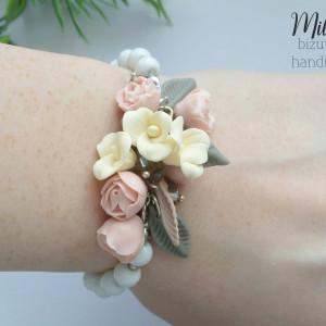 Delikatna Bransoletka z kwiatuszkami PASTELOWA