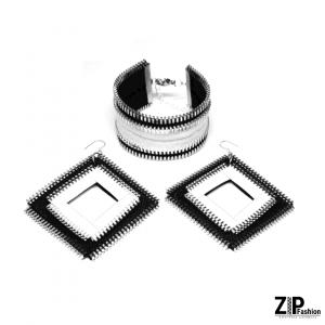 Designerski czarno-biały komplet biżuterii