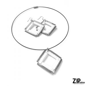 Designerski komplet biżuterii białe kwadraty