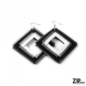 Designerskie kolczyki czarno-białe kwadraty