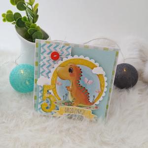 Dinozaur - kartka na 5 urodziny