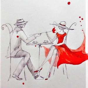 """""""DLA CIEBIE"""" akwarela artystki A. Laube - Vintage"""