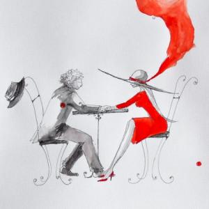"""""""Dłoń w dłoni"""" akwarela artystki A. Laube - retro"""