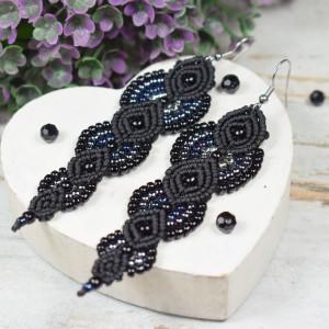Długie, eleganckie kolczyki z koralików - czarne