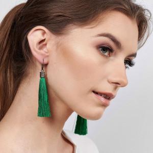 Długie kolczyki chwosty zielone Hera 3546
