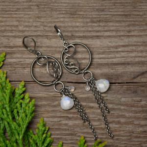 Długie kolczyki kamień księżycowy, wire wrapping