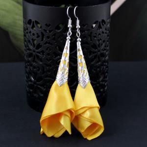 Długie Kolczyki Materiałowe Kwiaty Silk Żółte