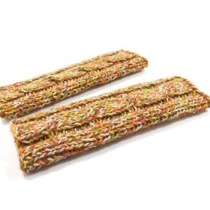 Długie rękawiczki mitenki na drutach z warkoczem