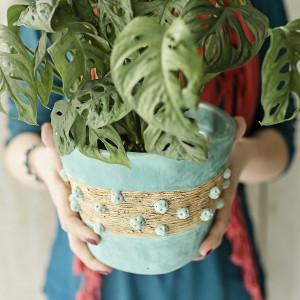 Donica miętowa matowa osłonka ceramiczna handmade