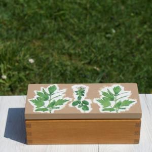 drewniana herbaciarka decoupage