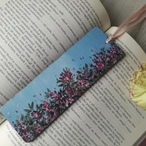 Drewniana zakładka do książki dzikie kwiaty