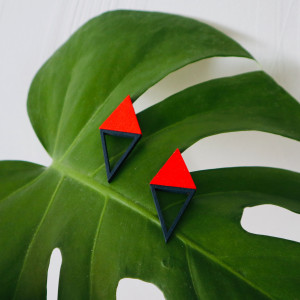 Drewniane kolczyki trójkąty