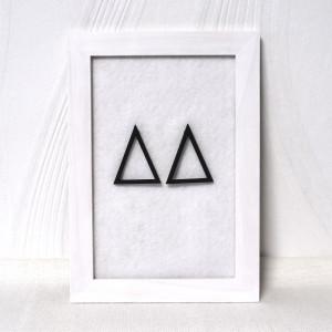 Drewniane nowoczesne kolczyki trójkąty
