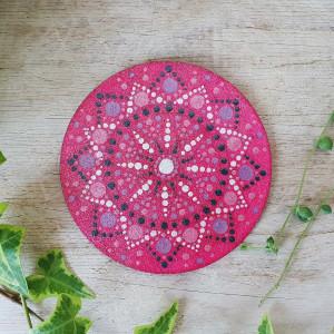 """Drewniane podkładki """"Dot Pink"""" - mandala 6szt."""