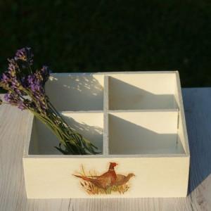drewniane pudełko decoupage